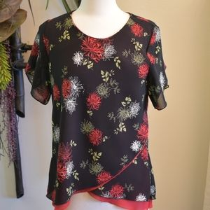 Omega Collection top black red overlapping hem